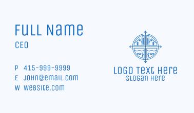 Blue Adventure Compass Business Card