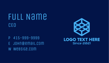 Cyber Blue Cube Business Card