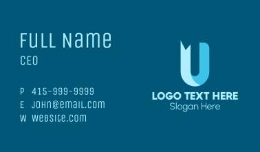 Blue Ribbon Letter U  Business Card