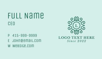 Green Wreath Lettermark Business Card