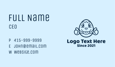 Blue Easter Egg Mascot  Business Card