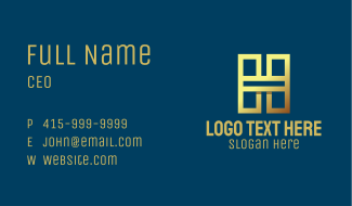 Gold Luxury Letter H Business Card