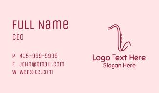 Saxophone Line Art Business Card