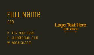 Simple Retro Vintage Wordmark Business Card