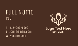 Wine Glass Antler Business Card