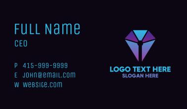 Blue Geometric Pen Business Card