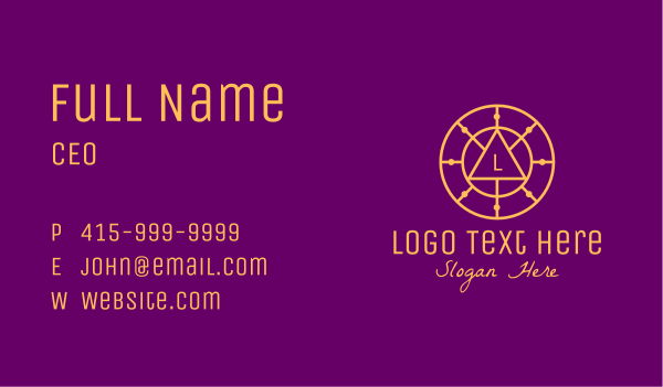 spirituality - Gold Astrological Letter Circle Business card horizontal design