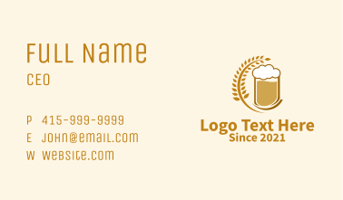 Wheat Craft Beer  Business Card