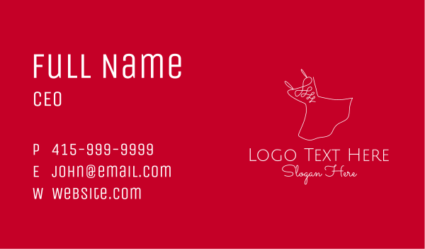 prom - Red Fashion Dress Business card horizontal design