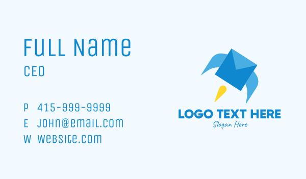 cargo delivery - Blue Envelope Rocket Business card horizontal design