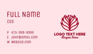 Red Dahlia Flower Business Card