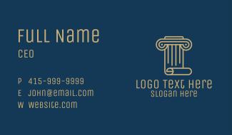 Pillar Scroll Construction Business Card