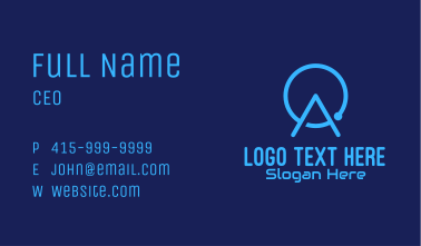 Blue Tech Letter A Business Card
