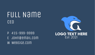 Mad Dolphin Mascot Business Card