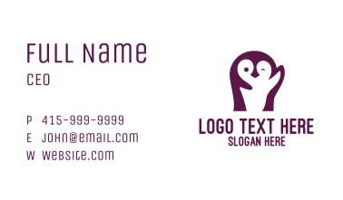 Cute Violet Penguin Business Card