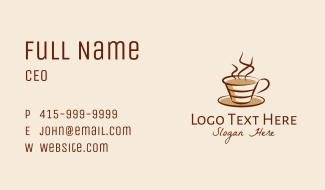 Steaming Hot Coffee  Business Card