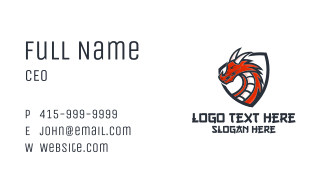 Horned Dragon Shield Mascot Business Card