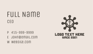 Anchor Ship Wheel  Business Card