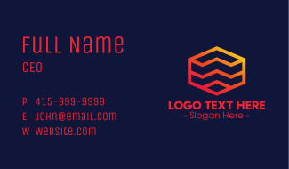Jagged Hexagon Lines Business Card