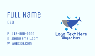 Whale Fish Mascot  Business Card