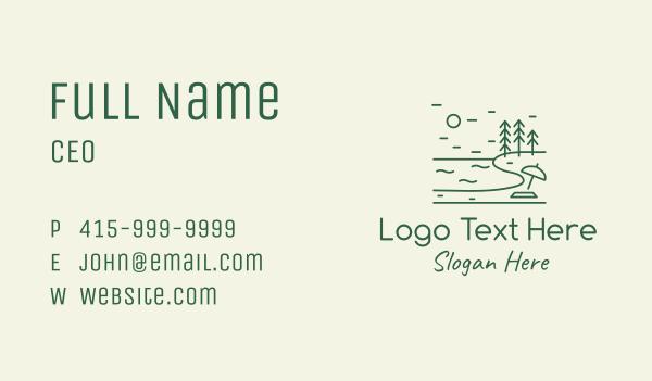 pine forest - Green Seaside Beach Lake Business card horizontal design