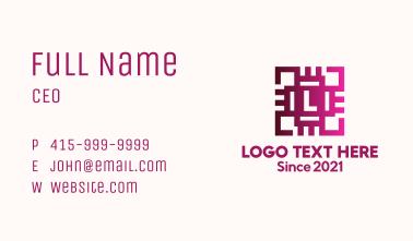 Gradient Circuit Letter Business Card