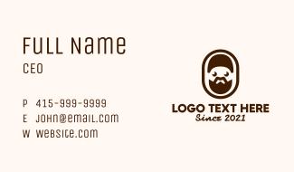Brown Bearded Man Badge Business Card