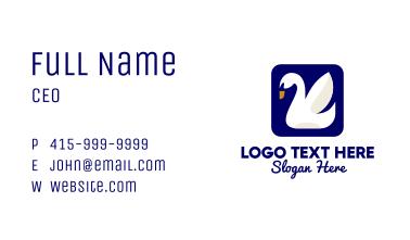 Swan Bird Icon Business Card