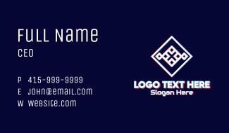 Futuristic Glitchy Letter X Business Card