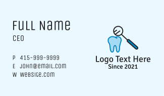 Dental Tooth Checkup Business Card