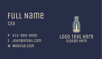Candle Light Wine Bottle Business Card