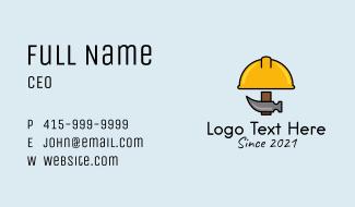 Construction Hat Hammer Business Card