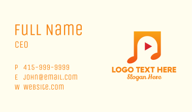 Music Streaming Application Business Card