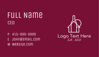 Wine Bottle House  Business Card