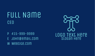 Letter T Electronics Business Card