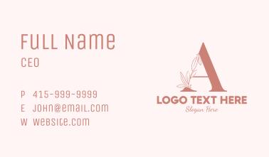 Elegant Leaves Letter A Business Card