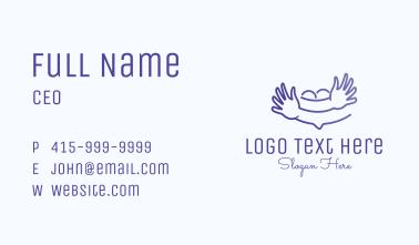Cute Blue Childcare Business Card