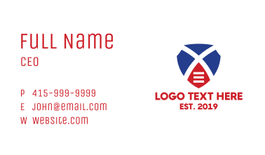 Shield Letter X  Business Card