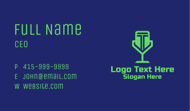 Green Letter T Microphone  Business Card