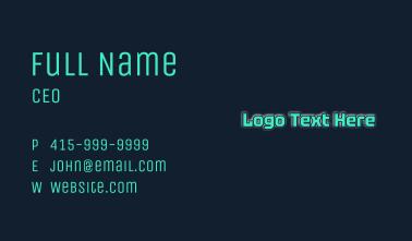 Glowing Tech Wordmark Business Card