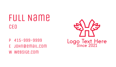 Red Winged Letter H Business Card