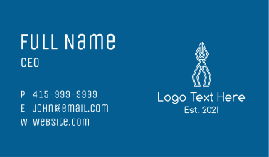 White Pliers Outline  Business Card