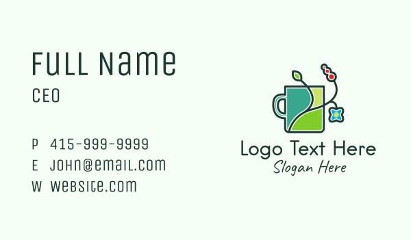 flower field - Floral Mug  Business card horizontal design