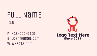 Squid Mascot Character Business Card
