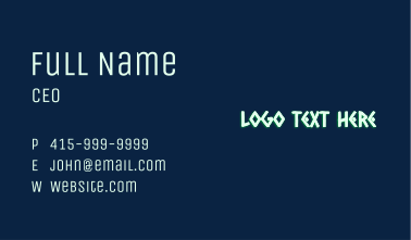 Glowing Native Wordmark  Business Card