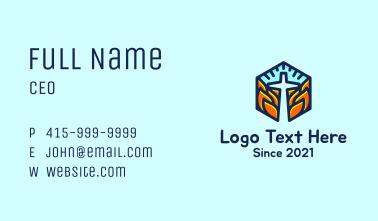 Hexagon Fire Cross Business Card