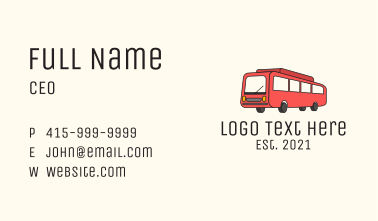 Red Service Bus  Business Card