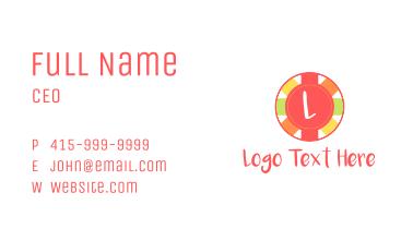 Festive Circle Banner Letter Business Card