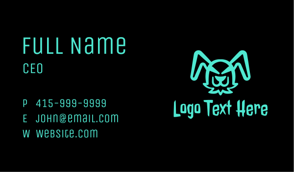 fluorescent - Fluorescent Evil Bunny Business card horizontal design