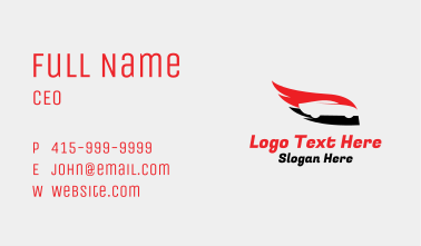 Flaming Wing Race Car Business Card